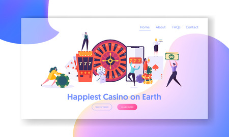 Happy Young People Play Roulette Landing Page. Winning Male and Female Character Hold Money Sign. Online Casino, Fortune Game Concept Website or Web Page. Flat Cartoon Vector Illustration