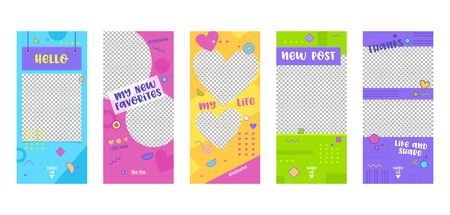 Colorful Template Mobile App Page Onboard Screen Set. Modern Pink Green Yellow Design. Can Use Social Media Background Website or Web Page. Flat Cartoon Vector Illustration