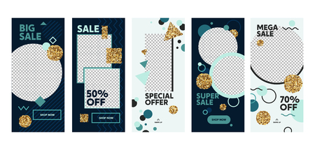 Super Sale Offer Mobile App Page Onboard Screen Set. Fun Modern Glitter Circle Square Blue Design. Social Media Background Website or Web Page. Flat Cartoon Vector Illustration