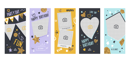 Happy Birthday Banner Mobile App Page Onboard Screen Set. Fun Modern Glitter Heart Star Design. Social Media Background Website or Web Page. Flat Cartoon Vector Illustration