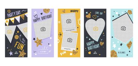 Happy Birthday Banner Mobile App Page Onboard Screen Set. Fun Modern Glitter Heart Star Design. Social Media Background Website or Web Page. Flat Cartoon Vector Illustration