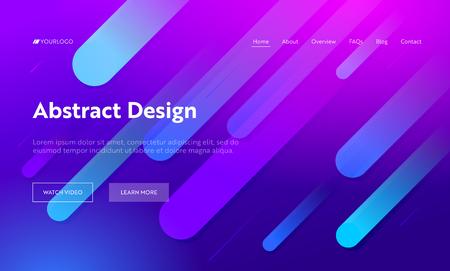 Fondo de página de destino de forma de línea diagonal abstracta multicolor púrpura. Patrón de gradiente de movimiento. Elemento de gota azul suave creativo para la página web del sitio web. Ilustración de vector de dibujos animados plana
