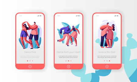Couple Dance Together Mobile App Page Onboard Screen Set. Boy and Girl Partner do Dancing Step. Active Date at Leisure. Lovers Enjoy Time Concept for Website. Flat Cartoon Vector Illustration 向量圖像