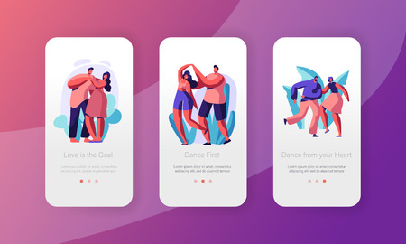 Couple Rest Dance Together Mobile App Page Onboard Screen Set. Happy Partner in Love stay in Fun Dancing Position. Active Leisure Concept for Website. Flat Cartoon Vector Illustration