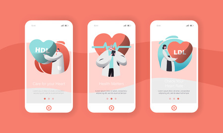Male and Female Cardiology Doctor or Health Care Worker Mobile App Page Onboard Screen Set. Checking Patient Pulse Heart Rate or Healthcare for Website. Flat Cartoon Vector Illustration Иллюстрация