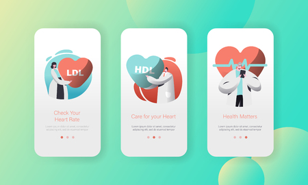 Medical Cardiology Health Care Worker Mobile App Page Onboard Screen Set. Professional Treatment. Check Heart Rate or Healthcare Concept for Website. Flat Cartoon Vector Illustration