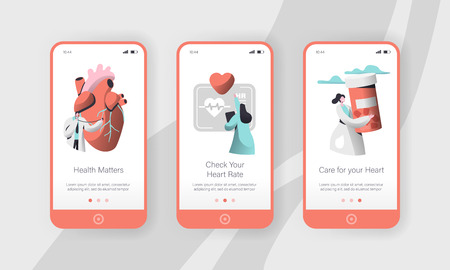 Hospital Cardiology Worker Care Heart Health Mobile App Page Onboard Screen Set Template. Emergency Help First Aid or Healthcare Concept for Website. Flat Cartoon Vector Illustration Banque d'images - 123179509