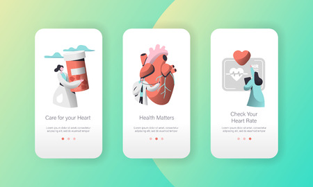 Medical Cardiology Worker Care Heart Health Mobile App Page Onboard Screen Set. Pill for Treatment. Emergency Help First Aid or Healthcare Concept for Website. Flat Cartoon Vector Illustration