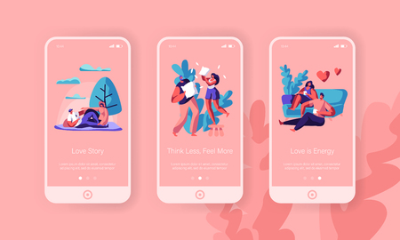 Lovers Rest Together Mobile App Page Onboard Screen Set. Happy Pair Sit on Sofa Drink Tea or Coffee have Picnic at Park Pillow Fight at Home Concept for Website Flat Cartoon Vector Illustration Çizim