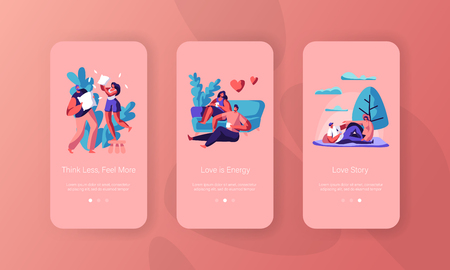 Joyful Couple Spend Time Mobile App Page Onboard Screen Set. Man and Woman Sit Drink Tea or Coffee have Picnic at City Park Pillow Fight Concept for Website Flat Cartoon Vector Illustration Ilustrace