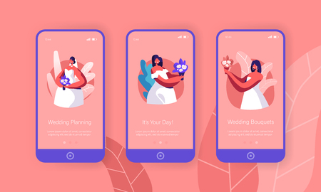 Cute Bride Hold Bouquet Mobile App Page Onboard Screen Set. Female Character with Bunch of Flower Wear White Wedding Dress. Married Girl Concept for Website. Flat Cartoon Vector Illustration
