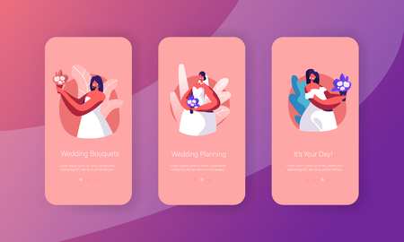 Happy Bride Hold Bouquet Mobile App Page Onboard Screen Set. Woman with Bunch of Flower Wear White Wedding Gown. Future Wife Look Concept for Website. Flat Cartoon Vector Illustration Illustration