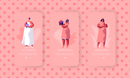 Wedding Preparation Mobile App Page Onboard Screen Set. Beautiful Bride with Bouquet Wear White Dress. Bridesmaid in Pink Clothes Concept for Website. Flat Cartoon Vector Illustration