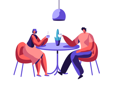 Loving Couple or Pair Male Female Friend Sit at Table Drink Coffee have Discussion. Smiling Man and Woman Friendly Meeting at Cafe. Boyfriend and Girlfriend Date. Flat Cartoon Vector Illustration
