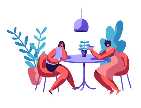 People Sit at Cafeteria Table Drink Coffee or Tea Talk Set. Two Woman have Lunch Break. Female Couple Dinner. Character Cafe Meeting at Leisure. Flat Cartoon Vector Illustration Ilustração