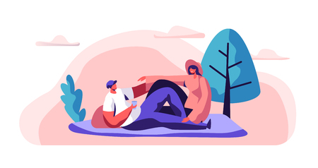 Relaxed Couple on Picnic Man and Woman Lying down on Blanket in City Park. Happy Pair Rest in Urban Garden. Man Hold Glass. Joyful Summer Leisure. Flat Cartoon Vector Illustration