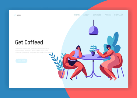 Two Girl or Pair of Female Friend Sit at Table Drink Coffee and Talk Landing Page. Woman Friendly Meeting and Conversation at Cafe Website Template. Flat Cartoon Vector Illustration