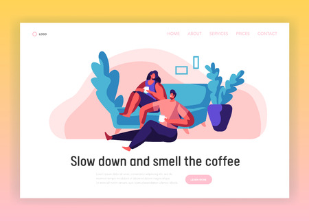 Lovers Couple Relax Landing Page. Man and Woman Sit on Comfortable Couch Website Template. Smiling Pair Drink Tea or Coffee. People Leisure Lifestyle Flat Cartoon Vector Illustration Vettoriali
