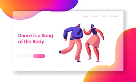 Cute Couple Dance Together Landing Page. Male and Female Partner Dancing Active Website Template. Young People Joyful Perfomance. Boy and Girl Fun Pose. Flat Cartoon Vector Illustration 向量圖像