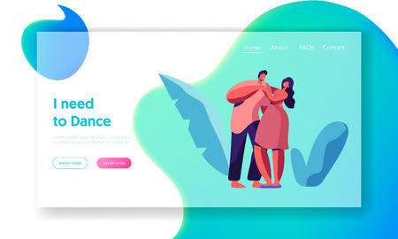 Happy Couple Dance Together Landing Page. Male and Female Lover Character Dancing Website Template. Young People Cuddle. Boy and Girl Dancer have Fun. Flat Cartoon Vector Illustration 向量圖像
