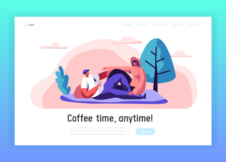 Loving Couple Outdoor on Picnic Landing Page. Man and Woman Lying down on Blanket in City Park. Happy Pair Rest Summer Leisure Website or Web Page Design. Flat Cartoon Vector Illustration Çizim