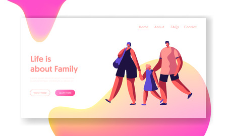 Happy Family on Shopping Landing Page. Mother and Father Walk Hold Little Daughter Hand Website or Web Page. Cheerful Couple Shop. Woman Carry Bag. Flat Cartoon Vector Illustration
