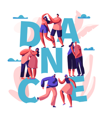Happy Couple Dance Together Typography Banner. Man and Woman Spend Fun Time Dancing. Lovers Flirt Hug Cuddle Poster Design. Romantic Weekend Activity Flat Cartoon Vector Illustration