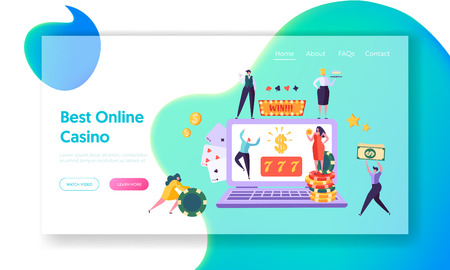 Online Casino Gambling Concept Landing Page. Happy Male Character Win Jackpot 777. People Play European Roulette. Hold Money Sign Website or Web Page. Flat Cartoon Vector Illustration Illustration