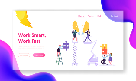Creative Teamwork Idea Business Innovation Concept Landing Page. Young People Character Collecting Puzzle Piece of Light Bulb Website or Web Page. Motivation Flat Cartoon Vector Illustration