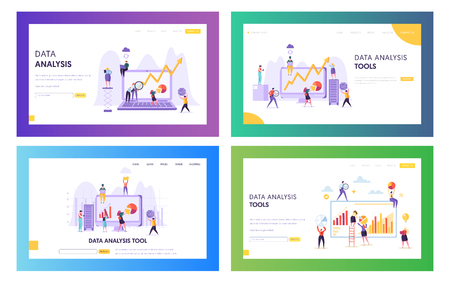 People Analysing Statistic Graphic Landing Page. Business Analytic Information Tool Set. Data Visualization Concept Website or Web Page. Teamwork Management Flat Cartoon Vector Illustration Vettoriali