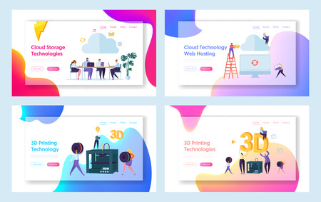 People Work in Cloud Space Landing Page. Male and Female Character Make 3D Technology Printing Set. Hosting Website or Web Page. Teamwork Management Flat Cartoon Vector Illustration Vettoriali
