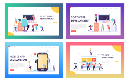 People Character Make Software Development Landing Page. Programming Code on Smartphone and Computer Screen Set. Coding Concept Website or Web Page. Flat Cartoon Vector Illustration  イラスト・ベクター素材