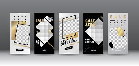 Template Sale Mobile App Page Onboard Screen Set. Modern Silver Black Idea for Design. Social Media Background Website or Web Page. Flat Cartoon Vector Illustration Иллюстрация
