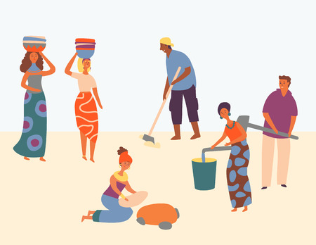African Character Hard Working Set Design Style. Women Wear Basket on Head. Man Plows Field. People Gain Water in Bucket. Everyone Satisfied Work, Helping Community. Flat Cartoon Vector Illustration