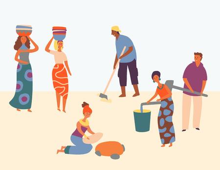 Carattere africano duro lavoro scenografia stile. Le donne indossano il cesto sulla testa. L'uomo ara il campo. Le persone guadagnano acqua nel secchio. Tutti soddisfatti del lavoro, aiutando la comunità. Illustrazione di vettore del fumetto piatto Vettoriali