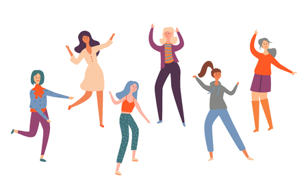 Set Group Young Happy Dancing People Different Race. Smiling Women in Bright Clothes Enjoying Dance Part. Female Dancers Isolated on White Background. Colorful Flat Cartoon Vector Illustration