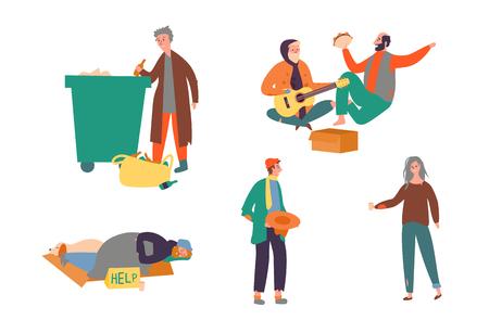 Set Obdachloser Armer Mann Frau Geld Betteln Straße. Bettler-Leute-Zusammensetzung mit Abfall ältere Person Frau an der Straße Männer, die für Nahrung arbeiten, lokalisierte flache Karikatur-Vektor-Illustration