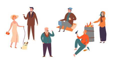 Définir l'inégalité de la classe sociale des personnages riches et pauvres. Homme et femmes sans-abri et personnes riches qui réussissent. Contraste dans les classes économiques sociales isolées sur fond blanc Illustration vectorielle de dessin animé plat