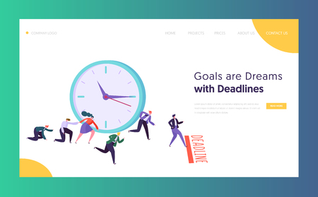 Office Deadline Business Concept Landing Page. Time Management on the Road to Success. Group of Running Businessmen to Achieve Results Website or Web Page. Flat Cartoon Vector Illustration 向量圖像