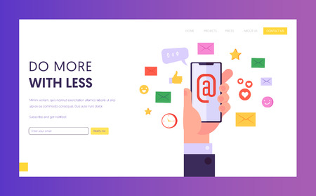 Modern Internet Technology Concept Landing Page. Email Network Marketing, Social Media and Digital Marketing, Social Network Promotion Concept Website or Web Page. Flat Cartoon Vector Illustration. Фото со стока - 123179560