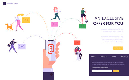 User Social Network Chatting Concept Landing Page. Running Digital Promotion Campaign, Direct Delivering Advertising from Smartphone Website or Web Page. Flat Cartoon Vector Illustration.
