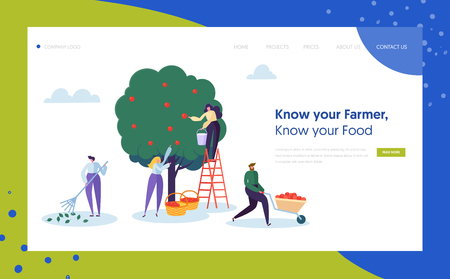 Garden Farm Landscape Farmer Concept Landing Page. Woman Pick Apple Harvest with Ladder. Character Harvesting Ripe Organic Fruit from Green Tree Website or Web Page. Flat Cartoon Vector Illustration