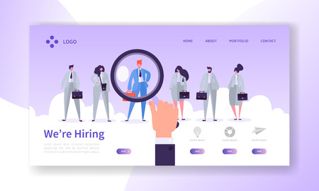 Recruitment Best Candidate Concept Landing Page. HR Searching for New Candidate. Hand Hold Magnifier Select Individual Person from Group of People Website or Web Page. Flat Cartoon Vector Illustration