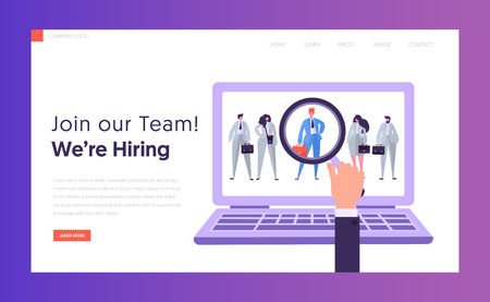 Online HR Best Candidate Concept Landing Page. Businessman Looking Candidate. Hand with Magnifier Select Person from Group of People on Laptop Website or Web Page. Flat Cartoon Vector Illustration Ilustração