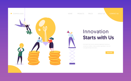 People Working New Project Concept Landing Page. Creative Idea for Startup with Lightbulb. Financial Business New Idea Money Growth Website or Web Page. Flat Cartoon Vector Illustration