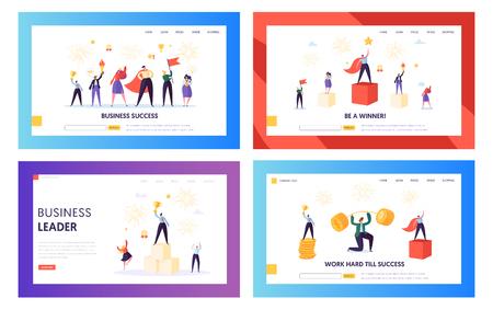 Winner Business Achievement Concept Landing Page Set. Entrepreneur Businessman Leader. Happy Team Success with Manager Holding Winner Prize Money Website or Web Page. Flat Cartoon Vector Illustration