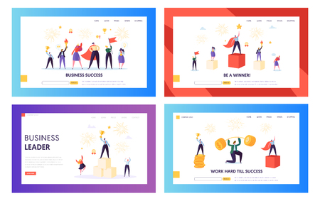 Winner Business Achievement Concept Landing Page Set. Entrepreneur Businessman Leader. Happy Team Success with Manager Holding Winner Prize Money Website or Web Page. Flat Cartoon Vector Illustration