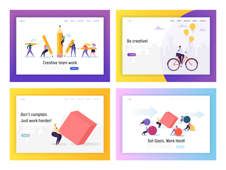 Business People Competition Concept Landing Page Set. Businessman Riding Bike to Work. Character Move Heavy Shape. Leadership Goal for Career Website or Web Page. Flat Cartoon Vector Illustration Ilustração