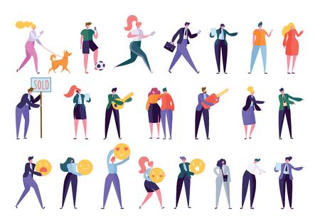 Collezione di vari personaggi di stile di vita creativo. Impostare la folla di persone che svolgono attività - cane a passeggio, fare sport, cercare lavoro, fare affari, costruire una famiglia. Illustrazione di vettore del fumetto piatto