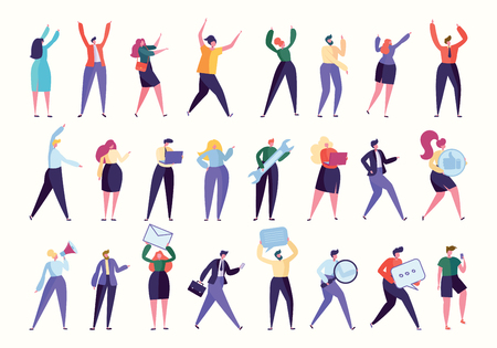 Various Gesture Employee Team Stand Together Set. Business Work Isolated. Manager Help, HR Found New Worker, People with Computer, Corporate Business. Flat Cartoon Vector Illustration Collection